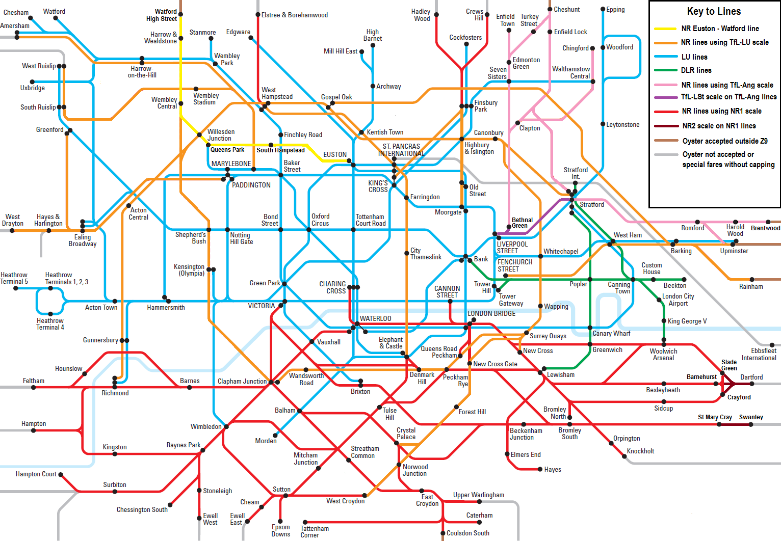 Oyster Card Zones 1 9 Map Oyster and National Rail » Single fares (2016) Oyster Card Zones 1 9 Map